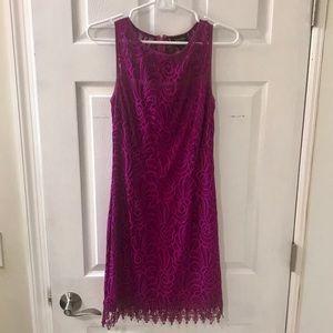 Laundry by Shelli Segal fuscia lace dress